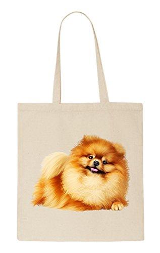 Pomeranian Dog Funny natürliche organische Tasche / natural organic Bag Beige