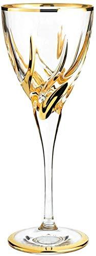 LLM Galsses Vino Cristal Llena la Copa de Vino Exclusivo Red Copas de Vino, Vino Blanco, Vidrio de Corte, Chapado en Oro, Aniversarios de Boda Material de Vidrio de Regalo (185 ml)