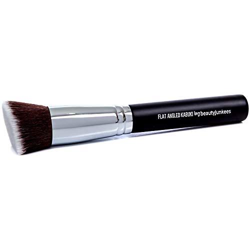 Flat Angled Kabuki Bronzer Brush - Beauty Junkees Contour Brush with Soft Dense Synthetic Bristles for Contouring, Blending, Buffing with Powder Cream Liquid Cosmetics, Vegan Makeup Brushes