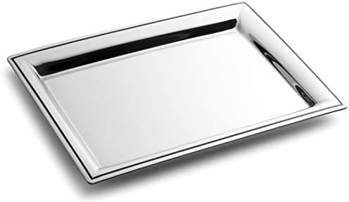 Royalty Art Fancy Serving Tray 16 x 9 5 Polished Silver Stainless Steel Elegant Home Decor for product image