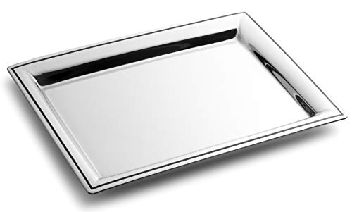 Royalty Art Fancy Serving Tray- Polished Silver Stainless Steel, Elegant Home Decor for Appetizers, Hor Dourves, Wine, and Event Hosting, Engraved Black Line