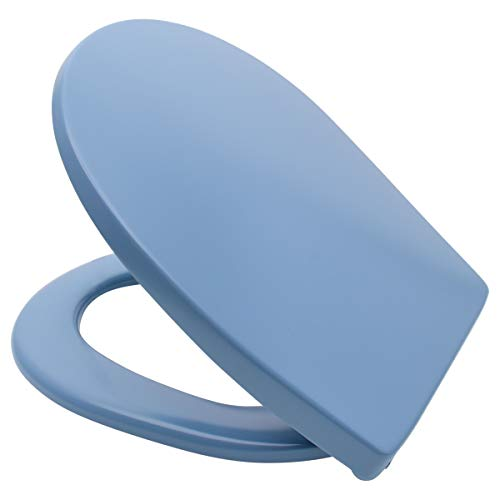 LUVETT WC-Sitz C100 oval mit Absenkautomatik SoftClose® & TakeOff® EasyClean Abnahme, Duroplast Toilettendeckel, Farbe:Bermuda Blau