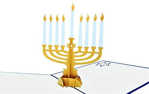 iGifts And Cards Happy Hanukkah 3D Pop-Up-Grußkarte – Chanukah, Juden, Kerzen, Inspirational, Dreidel, Rabbi, Menora, Davidstern, Segen, Halbgefaltet, Jahreszeiten Grüße, Urlaubstradition