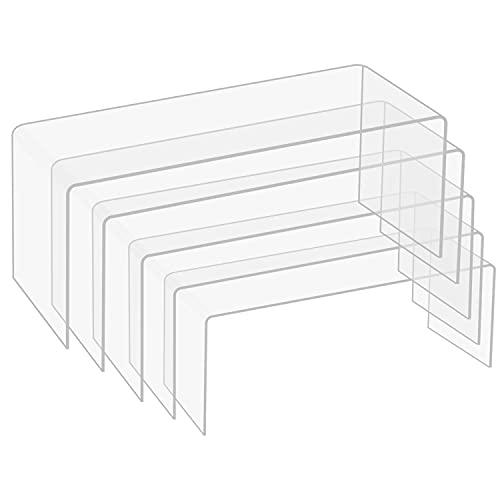 BELLE VOUS Expositor Metacrilato Transparente (Pack de 5) Peanas para Figuras en 5 Tamaños Diferentes para Repisas y Encimeras – Pedestal para Joyas, Figuras, Cupcakes y Postres