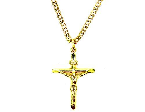 Collana Oro Giallo 18kt (750) Catena Rombo con Pendente Religioso Croce Cristo Smussata Cm 50 Uomo Donna