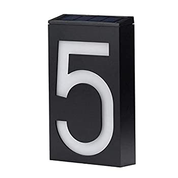 Solar House Numbers LED Lighted/Illuminated House Number Metal Address Plaque Address Numbers for Houses Address Plaque for Houses LED Address Sign from JBD Signature  5