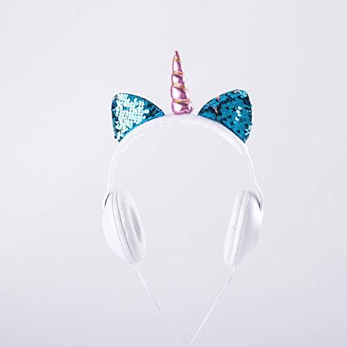 Lindo Oreja de Gato Unicornio LED Intermitente Auriculares con Cable Auriculares Brillantes...