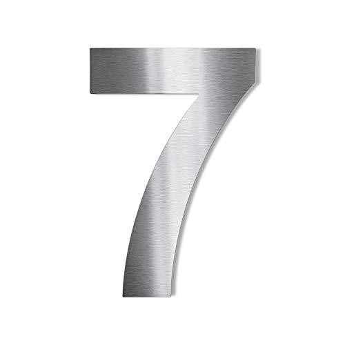 Metzler Edelstahl Hausnummer – wetterfest & pflegeleicht – selbstklebend - Schrift Arial - Höhe 75 mm - Ziffer 7