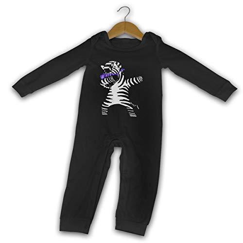 DabDance Zebra Nouveau-né Gilr's Bébé Barboteuse à Manches Longues pour bébé(2T,Noir)