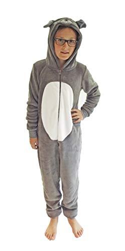 Kinder Karnevalskostüm Unisex Jumpsuit Overall Onesie Schlafanzug in tollen Tier Motiven, Größe:140, Farbe:Hund