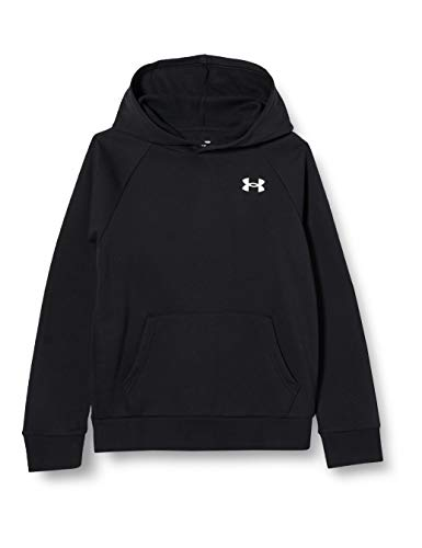 Under Armour Rival Cotton Hoodie Warm-up Top, Boys Black, Black / / Onyx White (001), YLG