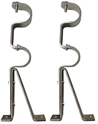 2 Double Curtain Rod Holder Hardware Brackets Adjustable Sliding Metal GOLD Rare