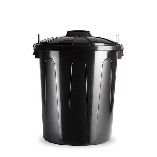 CABLEPELADO Cubo basura plastico comunidad con tapa 51 Litros (Negro)