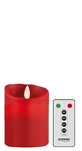 sompex Set Flame LED Echtwachskerze rot 8x10cm mit Fernbedienung