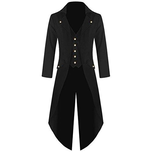 mioim Herren Frack Steampunk Gothic Jacke Vintage Viktorianischen Langer Mantel Kostüm Cosplay Kostüm Smoking Jacke Uniform Schwarz M