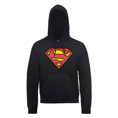 DC Comics Dc0000136 Official Superman Shield Sudadera, Negro, XXL para Hombre