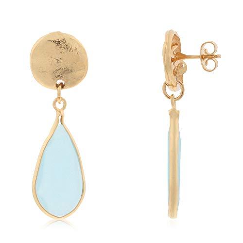 Córdoba Jewels | Pendientes en plata de ley 925 bañada en oro con piedra semipreciosa con diseño Lágrima Aguamarina Martelé Gold