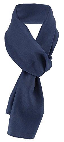 TigerTie Damen Chiffon Halstuch blau marine dunkelblau Uni Gr. 160 cm x 36 cm - Schal
