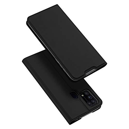 DUX DUCIS Hülle für Samsung Galaxy M31, Leder Klappbar Handyhülle Schutzhülle Tasche Hülle mit [Kartenfach] [Standfunktion] [Magnetisch] für Samsung Galaxy M31 (Schwarz)