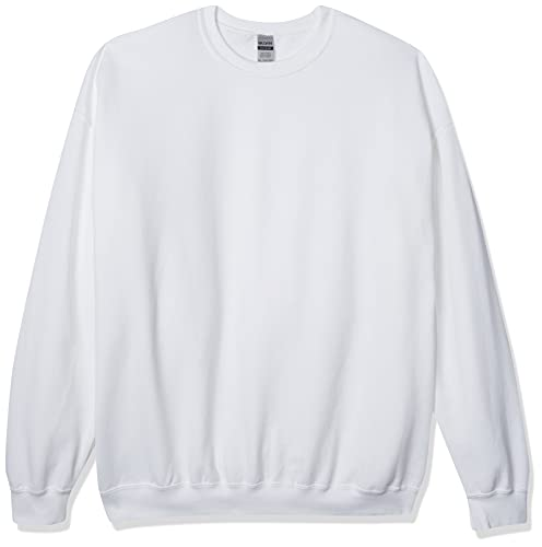 Gildan Men's Fleece Crewneck Sweatshirt, Style G18000, White, Medium