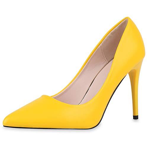 SCARPE VITA Damen Spitze Pumps Klassische Stiletto Schuhe High Heels Absatzschuhe Leder-Optik Partyschuhe 186268 Gelb 41