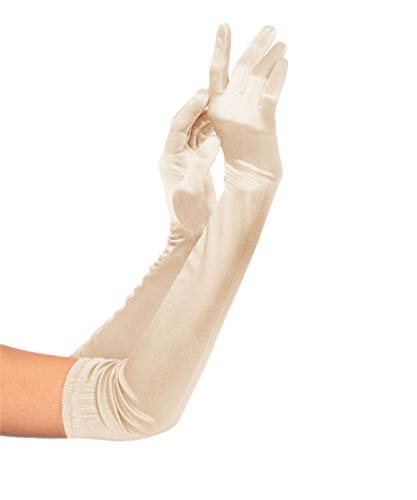 KQueenStar Direct Handschuhe Lang - Damen 1920 Handschuhe 1920er Gatsby Schwarz Satinhandschuhe Stil Handschuhe Classic Opera Fest Party Erwachsene Größe Elastisch Länge 52/55cm (Champagne)