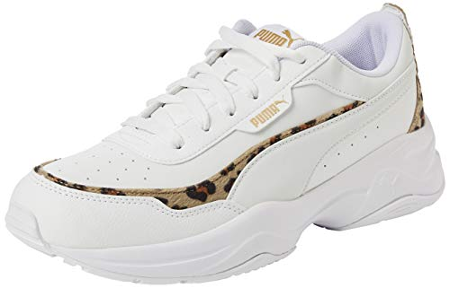 PUMA Cilia Mode Leo, Zapatillas Mujer, Blanco White White Team Gold Black, 41 EU