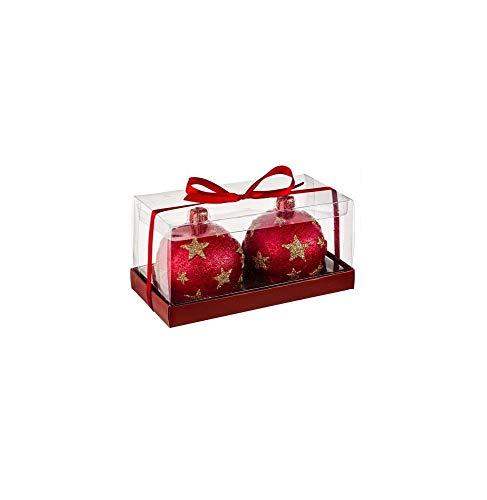 AC-Déco Bougie Boules De Noël - Lot De 2 - D 7,5 Cm - Rouge