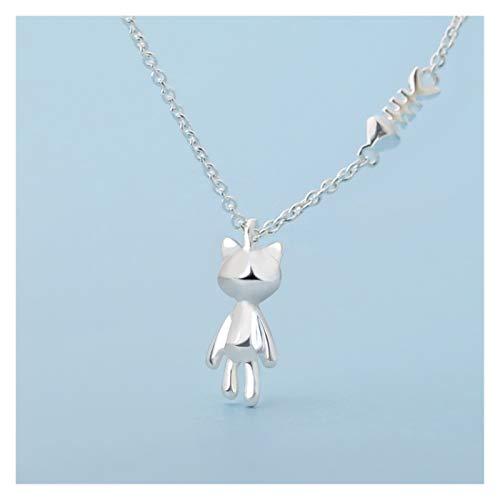 Joyería de Moda Collar Female Sterling Silver Clavícula Cadena Puppy Niche Design Colgante Joyería Amantes Cumpleaños Día de San Valentín Regalo Collar para Mujer (Color : D)