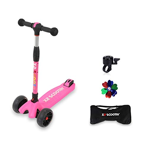 Best Bargain X2 Kids Kick Scooter | 3 Level Height Adjustable One Touch Folding LED Flashing Wide 3 ...