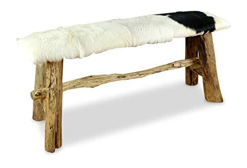 livasia Ziegenfell Sitzbank mit Teakholz, Designer Sitzbank aus Java, Holzbank (Ziegenfell - Sitzbank - Schwarz - Weiß)