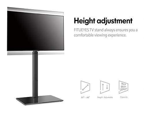 FITUEYES Meuble TV Pied avec Base en Verre Trempé Support Pivotant pour Téléviseur de 32 à 60 Pouce Ecran LED LCD Plasma - Pivotant à 70 Degrés - Hauteur Réglable - Gestion des câbles - VESA 600x400mm