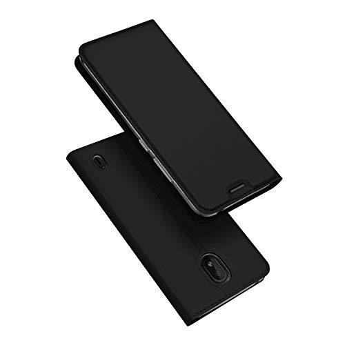 DUX DUCIS Hülle für Nokia 1 Plus, Leder Flip Handyhülle Schutzhülle Tasche Hülle mit [Kartenfach] [Standfunktion] [Magnetverschluss] für Nokia 1 Plus (Schwarz)