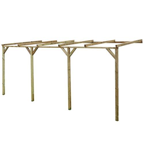 *Festnight Terrassendach Terrassenüberdachung Pergola aus Holz für Wandanbau 2mx5mx2,2m*