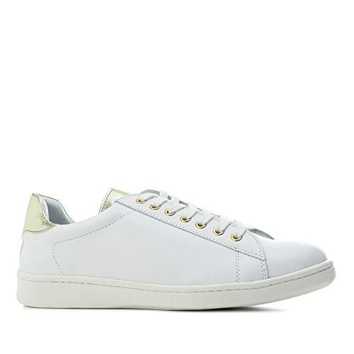 Andres Machado - Zapatillas Deportivas para Mujer - Chicas - Trainers - Sneakers - Abril - en Cuero Blanco - con Distintos diseños en Plata - Bronce o Estampado Animal. Tallas Grandes EU 42 a 45.