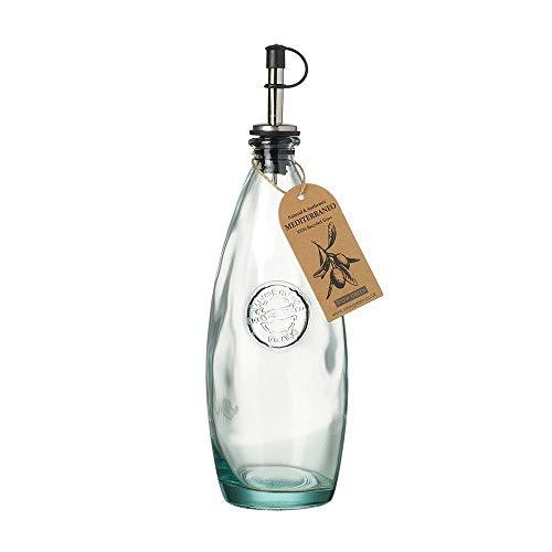 Stow Green Mediterraneo Olivenöl-Flasche mit Auslauf, grün, klar, recyceltes Glas, 600 ml