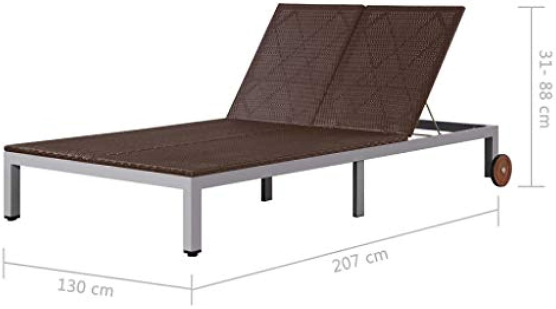 Tidyard Sonnenliege mit Verstellbare Rückenlehne und 2 Rollen, aus Poly Rattan und Stahlrahmen, 207 x 130 x (31-88) cm, Braun, Doppelliege Gartenliege für Garten Terrasse Balkon
