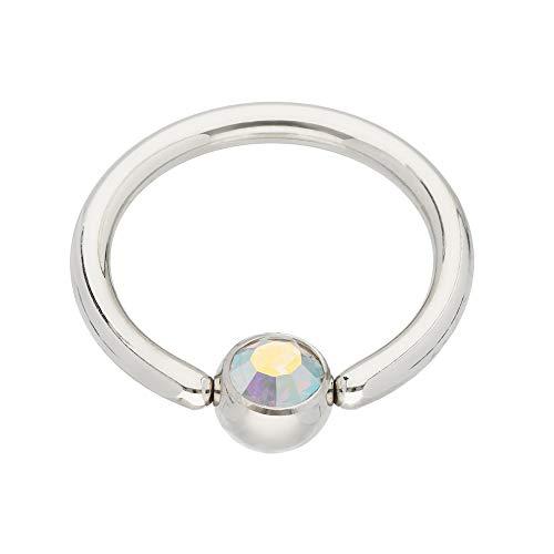 Treuheld® | Silbernes KLEMMKUGELRING Piercing mit Kristall - [02.] 1.2 x 8 mm (Kugel: 3mm) - Crystal