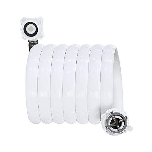 Manguera de entrada de la lavadora automática, tubo de entrada de pulsación 1/2 'recta y 3/4' Conexión de rosca 90 grados, tubería de agua connector de lavadora de pvc a prueba de explosiones blancas