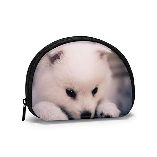 Little White Puppy Travel Shell Cosméticos Bolsas de almacenamiento portátiles para mujeres y niñas pequeñas monedero monedero monedero monedero