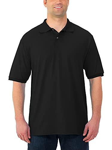 Jerzees Men's SpotShield Stain Resistant Polo Shirts (Short & Long, Short Sleeve-Black, Medium