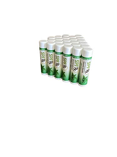 SPF 15 Sunscreen Lip Balm UVA/UVB Protection New Refreshing Spearmint Flavor  With 100% Certified Organic Sunflower, Hemp Seed  Rapid Relief For Chapped & Dry Lips (0.15 Oz - 24 Pack)