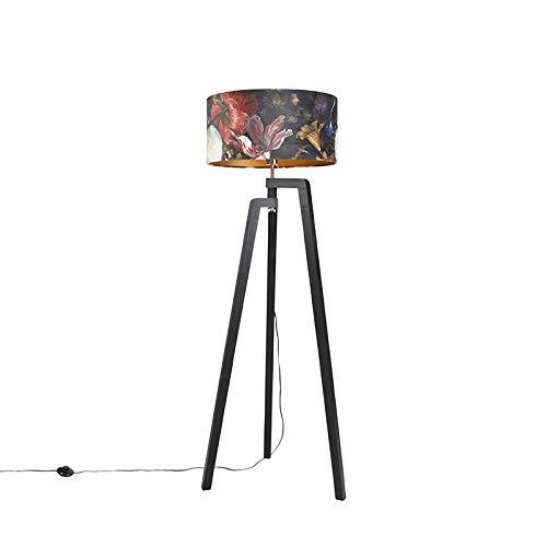 QAZQA Klassiek/Antiek Vloerlamp tripod zwart met kap bloemen dessin 50 cm - Puros Hout/Stof Cilinder/Langwerpig/Rechthoekig Geschikt voor LED Max. 1 x 60 Watt