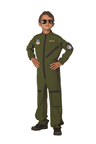 The Fantasy Tailors Jet-Pilot Kinder-Kostüm Overall Oliv-grün Tarnfarbe Militärunform Armee Army Luftwaffe Marine Karneval Fasching Hochwertige Verkleidung Fastnacht Größe 140 Grün
