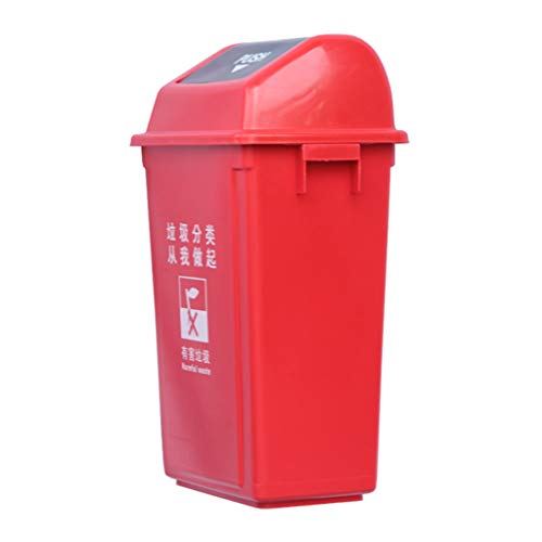 Buy Bargain WQEYMX Outdoor Trash can Trash can Outdoor Trash can Wheeled Trash can (Color : Red, Siz...