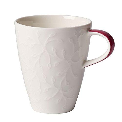Villeroy & Boch Caffè Club Floral Touch of Rose Kaffeebecher, 350 ml, Premium Porzellan, Weiß/Pink