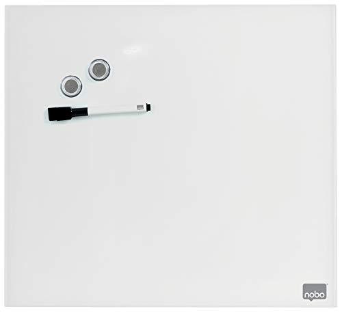 Nobo Pizarra Blanca Pequeña Magnética, Limpiado en Seco, Sin Marco, Sistema de Montaje en Pared Oculto, Incluye Rotulador e Imanes, Blanco Brillante, 450 x 450mm, 1903957