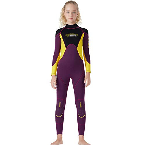 HJFGIRL Traje de Buceo Cálido de Una Pieza para Niños,Traje de Neopreno de 2,5 Mm UPF 50+ Protección Solar de Una Pieza Trajes de Baño Térmicos de Surf de Una Pieza Trajes de Sol,Red-Xlarge