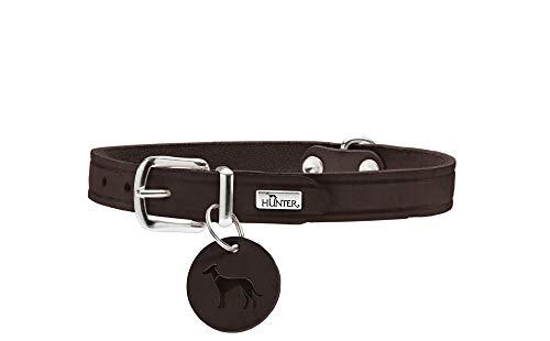 HUNTER AALBORG Hundehalsband, Leder, schlicht, robust, komfortabel, 47 (S-M), dunkelbraun
