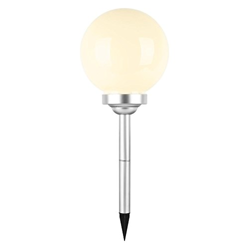oneConcept - LED-Flower, Solarleuchte, Gartenleuchte, Ø 25 cm, Kugelform, weiße LED, stoß- und wetterfest, Solar-oder Batterie-Betrieb, Dämmerungssensor, weiß